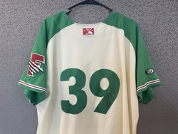 Photo of Juan Mejia Fresno Game-Used & Autographed Tacos Jersey