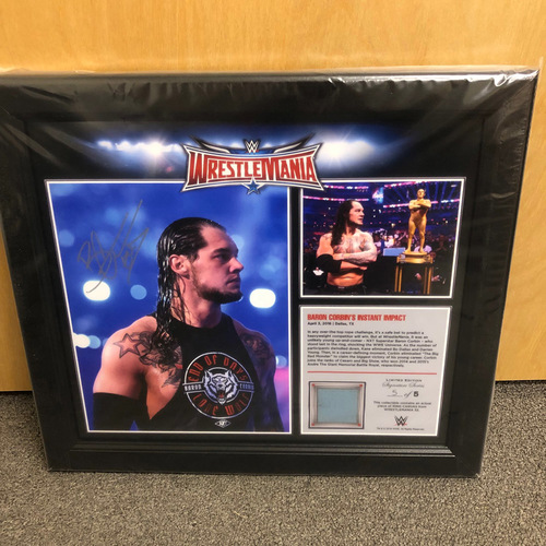 Photo of Baron Corbin SIGNED WrestleMania 32 15 x 17 Framed Ring Canvas Photo Collage  (#5 of 5)