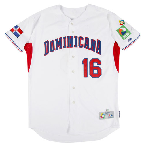 Photo of 2009 World Baseball Classic: Willy Aybar (Dominican Republic) #16 Game-Used Jersey
