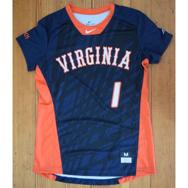 Photo of Game-Worn University of Virginia Softball Jersey: Navy #1
