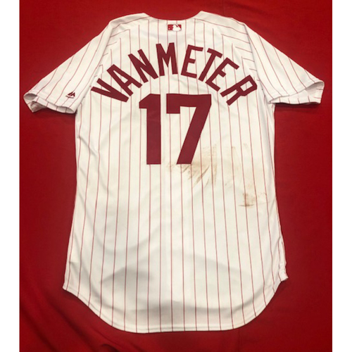 Photo of Josh VanMeter -- 1967 Throwback Jersey (Starting LF: Went 1-for-2, 2 BB, 2 R) -- Game-Used for Rockies vs. Reds on July 28, 2019 -- Jersey Size: 44