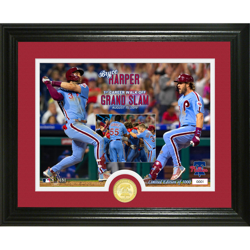 Photo of Serial #1! Bryce Harper 1st Career Walk Off Grand Slam Bronze Coin Photo Mint
