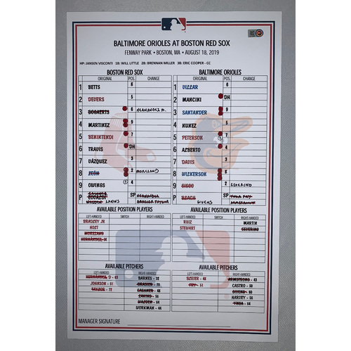 Photo of Baltimore Orioles VS Boston Red Sox August 18, 2019 Game Used Lineup Card - Red Sox Win 13 to 7