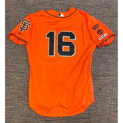Photo of 2019 Game Used Orange Home Alt Jersey worn by #16 Aramis Garcia on 9/27 vs. LAD - Size 48