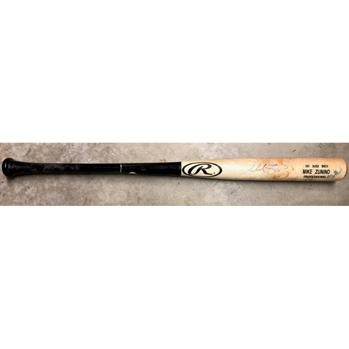 Photo of Game Used Autographed Broken Bat: Mike Zunino - RBI SINGLE - September 1, 2019 v CLE