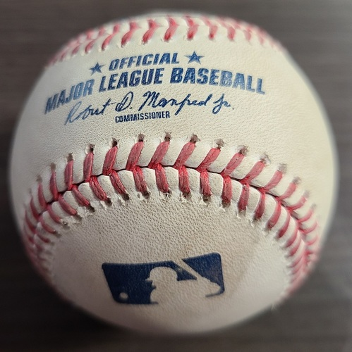 Photo of Authenticated Game Used Baseball: Foul by Brandon Nimmo against Santiago Espinal (Sep 11, 20 vs NYM). Top 9. Game played in Buffalo.