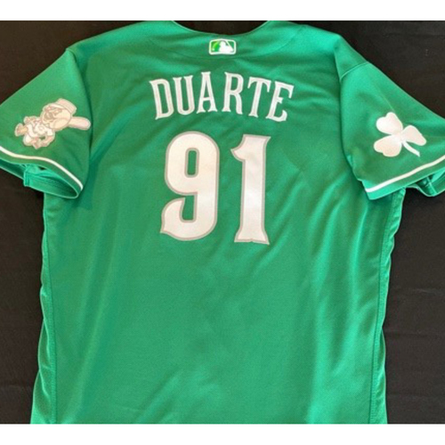 Photo of Jose Duarte -- Game-Used Jersey -- 2021 St. Patrick's Day Game -- Size: 48