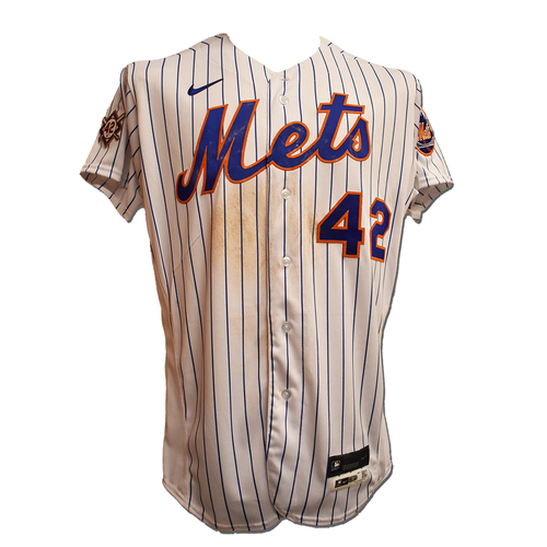 Photo of Michael Conforto #30 - Game Used Jackie Robinson Day Jersey and Hat - 2-3, BB - Mets vs. Nationals - 4/23/21