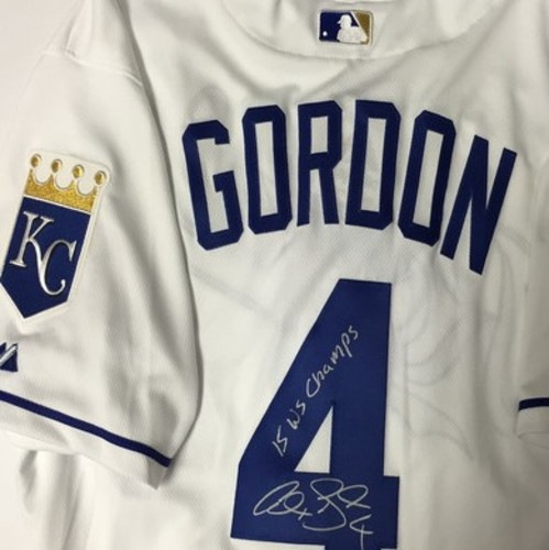 "Photo of Alex Gordon Autographed ""15 WS Champs"" Authentic Royals Jersey w/ 2015 WS Patch"