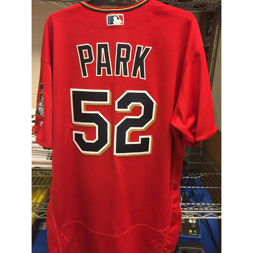 sale retailer d09c6 b5af4 MLB Auctions | 2016 Byung Ho Park Game-Used Scarlett Jersey ...
