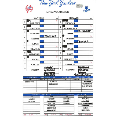 Photo of Yankees at Kansas City 5-17-2017 Game-Used Lineup Card
