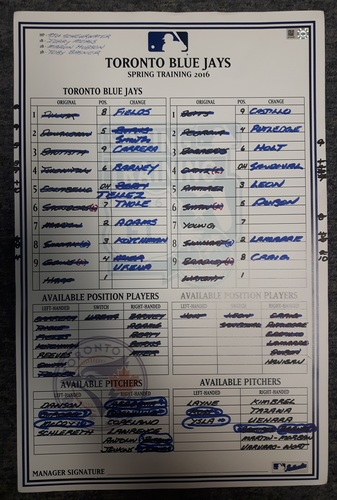 Photo of Authenticated Game Used Lineup Card - 2016 Spring Traning in Montreal vs Red Sox (April 1, 2016)