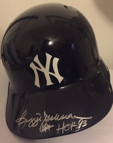 "Photo of Reggie Jackson ""HOF 93"" Autographed Yankees Helmet"