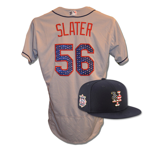 Photo of Tom Slater #56 - Game Used 4th of July Jersey and Hat - Mets vs. Blue Jays - 7/4/18