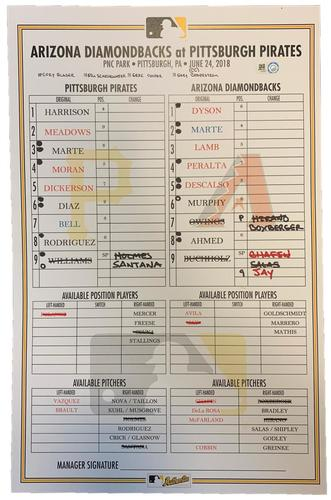 Photo of Game-Used Lineup Card from Pirates vs. Diamondbacks on 6/24/18