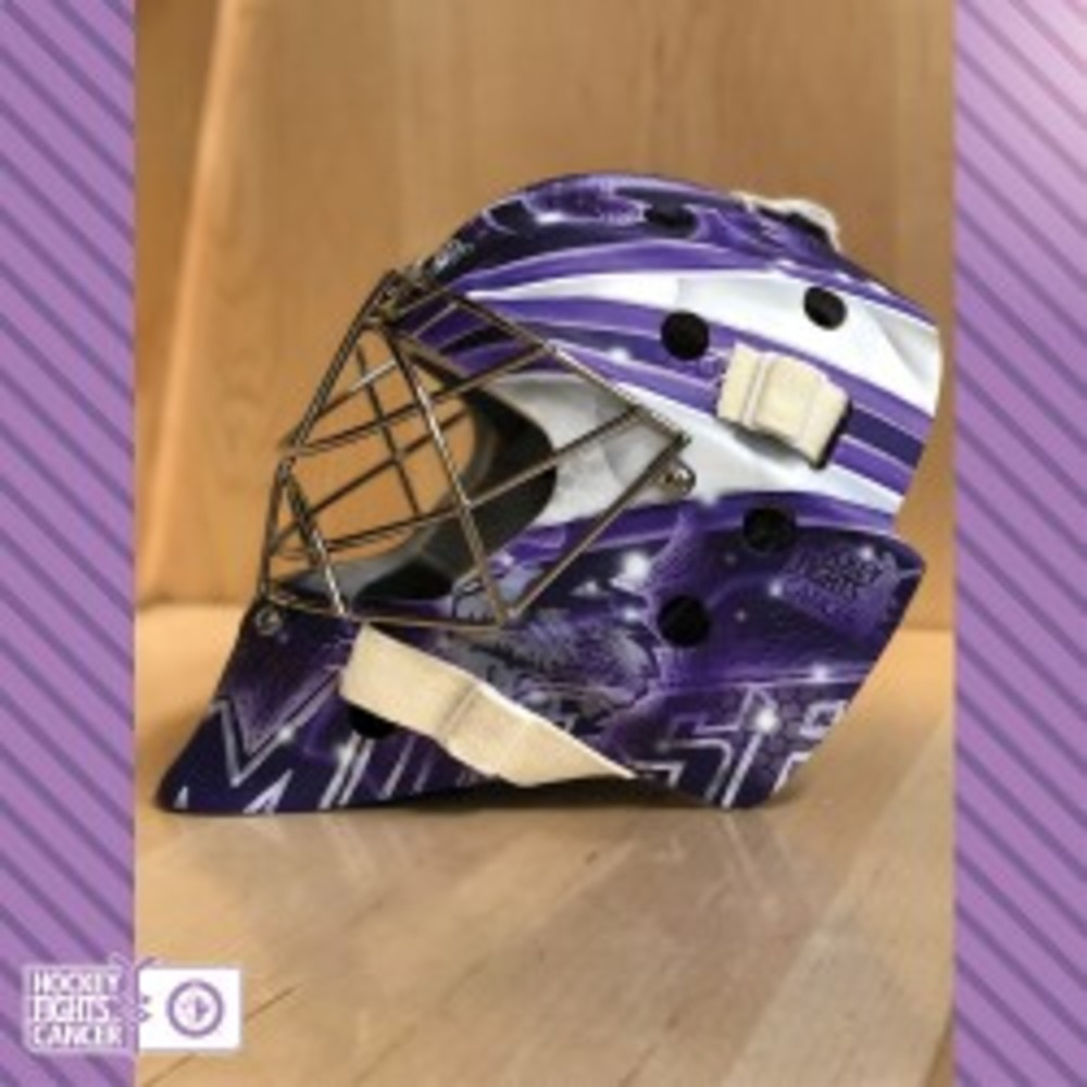 ecd7afcb666 KEN APPLEBY Game Worn Hockey Fights Cancer Goalie Mask - NHL Auctions