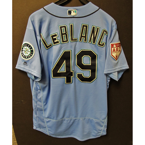 Photo of Wade LeBlanc Game Used Light Blue Spring Training Jersey 2019  Exhibition Game - SD @ SEA 3-26-2019