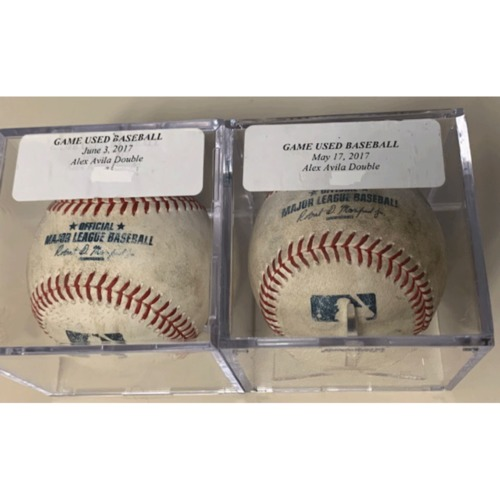 Photo of Two Game-Used Baseballs: Alex Avila Doubles
