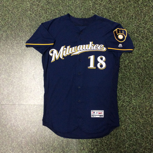 Eric Sogard 2018 Game-Used Navy Ball & Glove Jersey