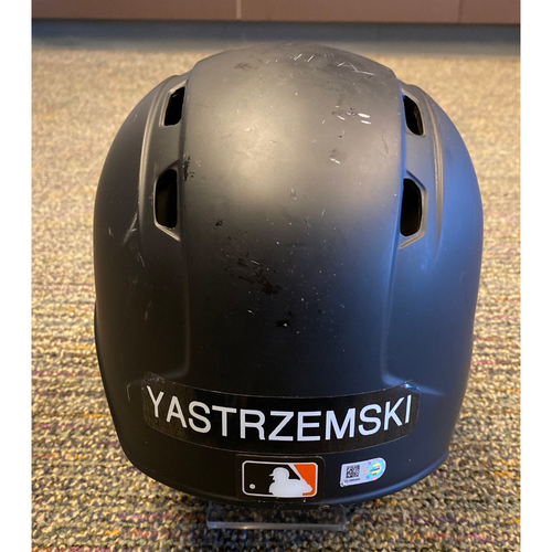 Photo of 2019 Game Used Batting Helmet worn by #5 Mike Yastrzemski on 8/11 vs PHI - 2B, HR, 8/16 @ AZ - 3 HR , 9/17 @ BOS - HR, 9/29 vs LAD - Bochy's Final Game - Size 7 1/8