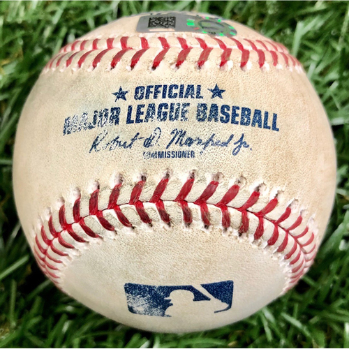 Photo of Game Used Baseball: Kyle McGowin strikes out Manuel Margot - September 16, 2020 v WSH