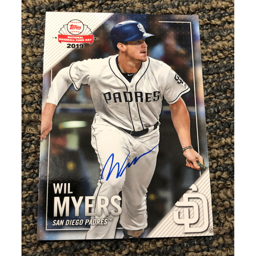 Photo of Wil Myers Autographed Topps 2019 National Baseball Card Day Petco Park Exclusive Card