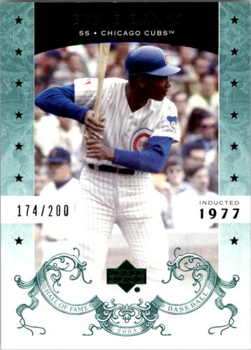 Photo of 2005 Upper Deck Hall of Fame Green #25 Ernie Banks