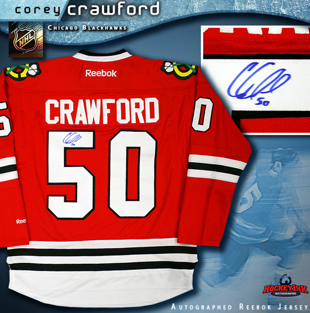 COREY CRAWFORD Signed Reebok Premier Red Chicago Blackhawks Jersey