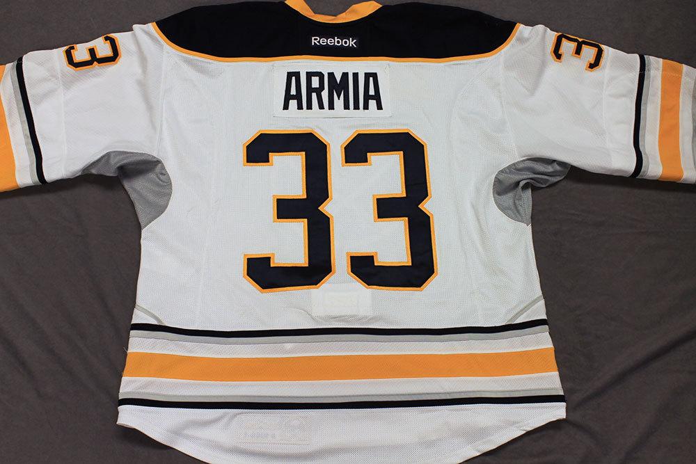 Joel Armia Game Worn Buffalo Sabres Away Jersey.  Serial: 1040-1. Set 1 - Size 56.  2013-14 season.