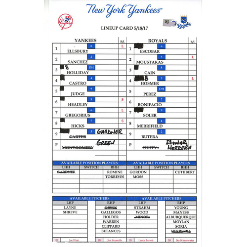 Photo of Yankees at Kansas City 5-18-2017 Game-Used Lineup Card