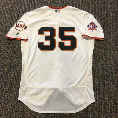 Photo of San Francisco Giants - 2018 Game Used Jersey - #35 Brandon Crawford - worn on 6/4 for HOMERUN and 6/6 for WALKOFF HIT - Size 48