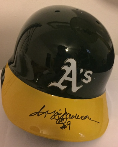 Photo of Reggie Jackson Autographed Athletics Helmet