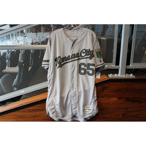 Photo of Game-Used Camo Jersey: Jakob Junis (Size 48 - KC @ TEX - 5/27/18)