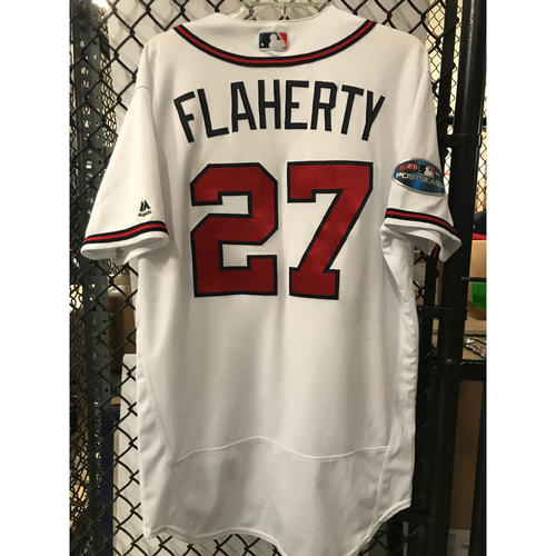 Photo of Ryan Flaherty Used 2018 NLDS Jersey - Worn 10/7/18 and 10/8/18- First Postseason Game at SunTrust Park