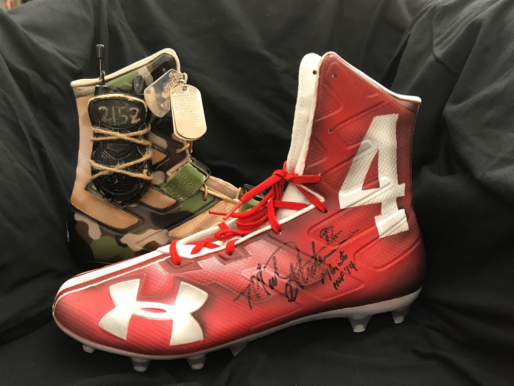My Cause My Cleats - Michael Strahan signed custom Under Armour cleats - HOF 14 inscription