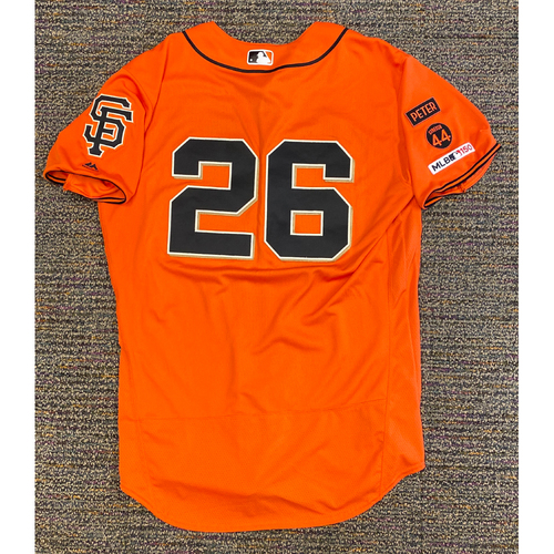 Photo of 2019 Game Used Orange Home Alt Jersey worn by #26 Chris Shaw on 9/27 vs. LAD - Size 46