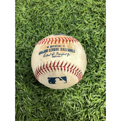 Photo of Game Used Baseball: Dee Gordon single, Tim Lopes ground out and J.P. Crawford at-bat against Chaz Roe - August 19, 2019 v SEA