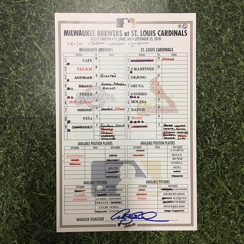 Photo of MIL @ STL 09/25/18 Game-Used Lineup Card - Christian Yelich 1st 100-RBI Season (2-6, 3B, HR, 6 RBI)