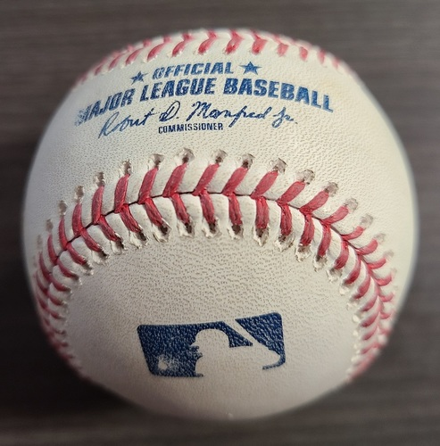 Photo of Authenticated Game Used Baseball: Foul by Jonathan Villar against Seth Lugo (Sep 12, 20 vs NYM). Bottom 4. Game played in Buffalo.