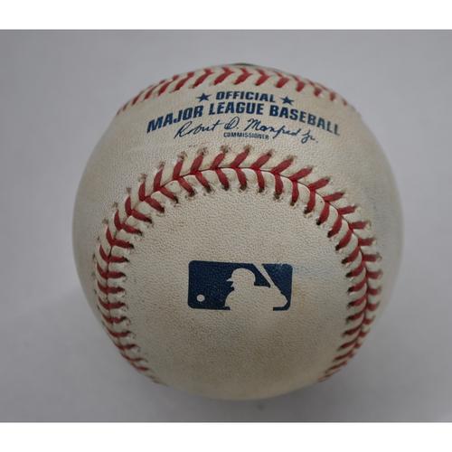 Photo of Game-Used Baseball - 2020 ALCS - Houston Astros vs. Tampa Bay Rays - Game 1 - Pitcher: Framber Valdez, Batters: Yandy Diaz (Swinging Strikeout), Hunter Renfroe (Swinging Strike; Blocked by Catcher) - Bot 4
