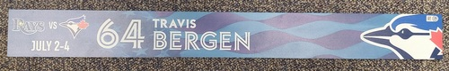 Photo of Authenticated Team Issued Locker Name Plate: #64 Travis Bergen (from Buffalo in 2021)