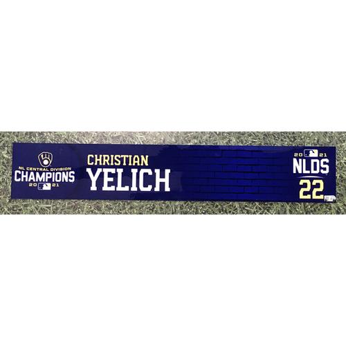 Photo of Christian Yelich 2021 Game-Used NLDS Locker Nameplate
