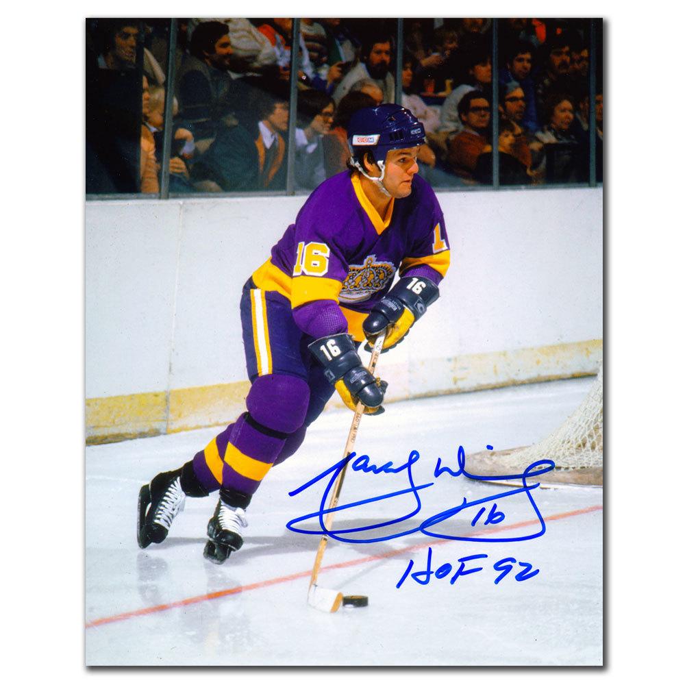 Marcel Dionne Los Angeles Kings HOF PURPLE JERSEY Autographed 8x10