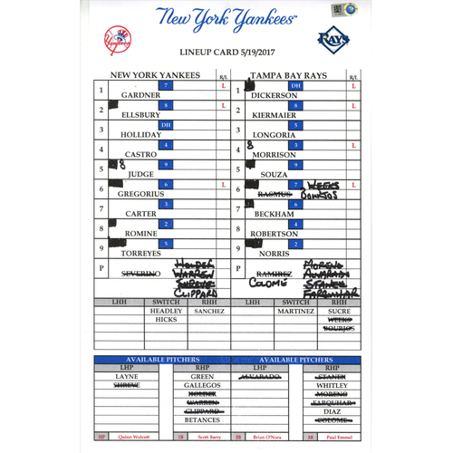 Photo of Yankees at Tampa Bay 5-19-2017 Game-Used Lineup Card
