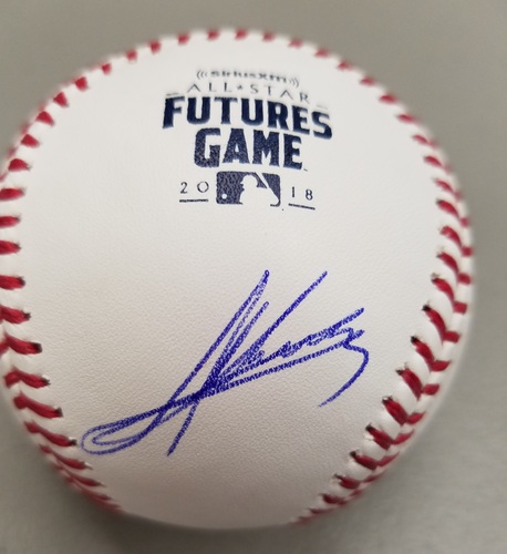 Photo of Andres Gimenez Autographed 2018 Futures Logo Baseball