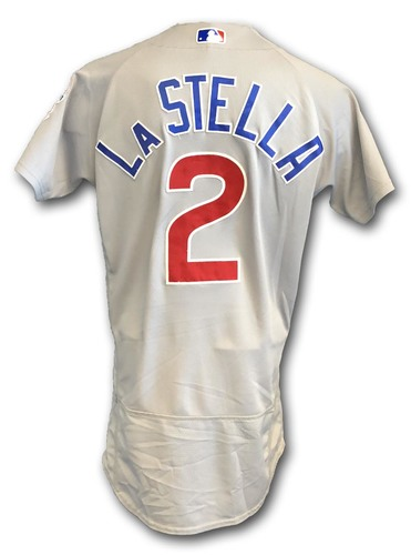 Photo of Tommy La Stella Game-Used Jersey -- Cubs at White Sox -- 9/22/18; Also Worn Opening Day 2018 -- Cubs at Marlins -- 3/29/18 -- Pinch Hit 2-Run Double in 7th; Cubs at Phillies -- 8/31/18
