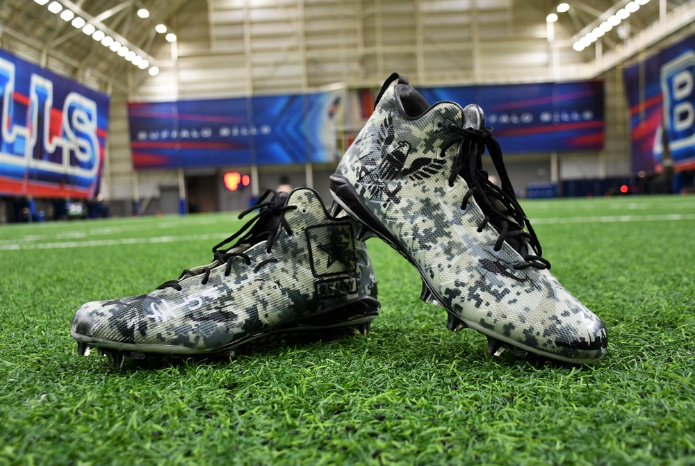 MY CAUSE MY CLEATS - JERRY HUGHES SIGNED GAME WORN CUSTOM CLEATS