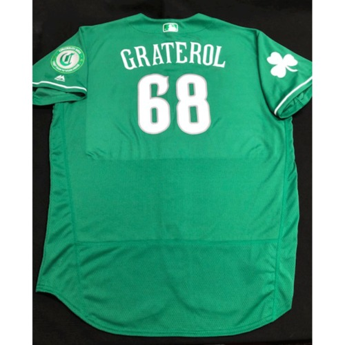 Photo of Juan Graterol -- Game-Used Jersey -- 2019 St. Patrick's Day