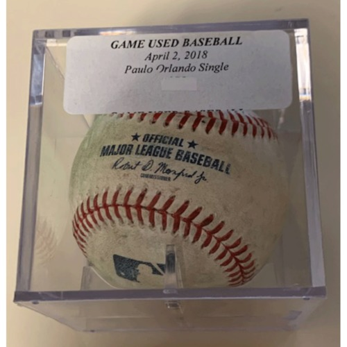 Photo of Game-Used Baseball: Paulo Orlando Single