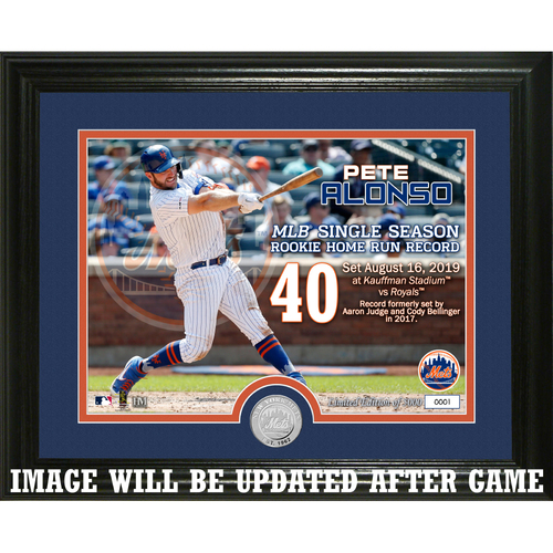 Photo of Pete Alonso NL Rookie Home Run Record Breaker Silver Coin Photo Mint